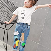 Fashion Kids Clothes Multicolor Patch Long Pants Little Girls Comfortable Elastic Daily Casual Wear Children Loose Trousers