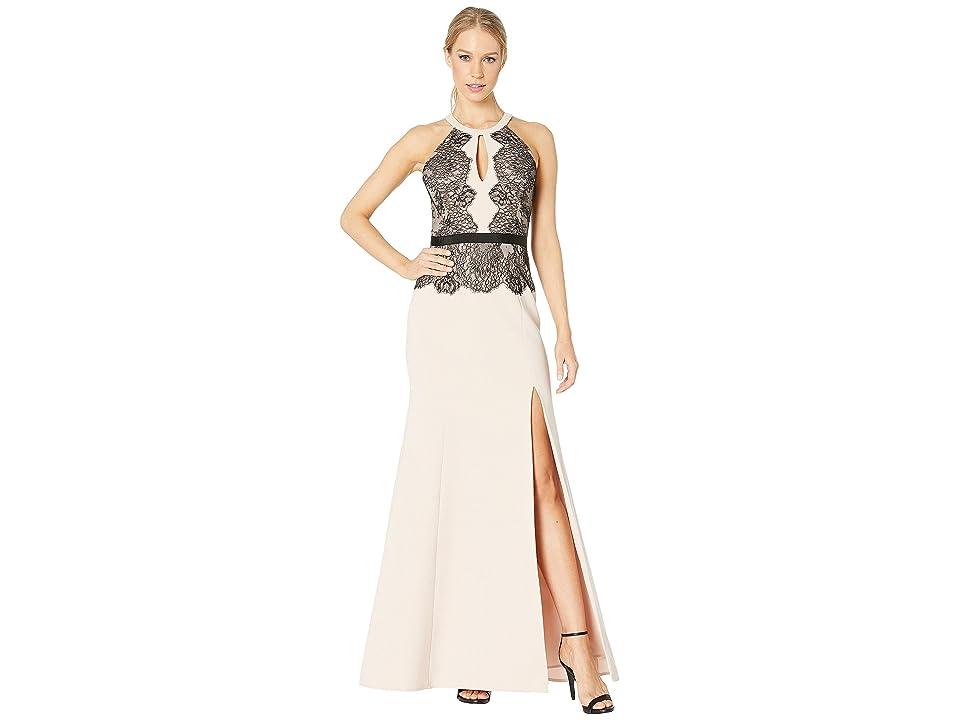 BCBGMAXAZRIA Georgianna Halter Dress with Contrast (Bare Pink Combo) Women
