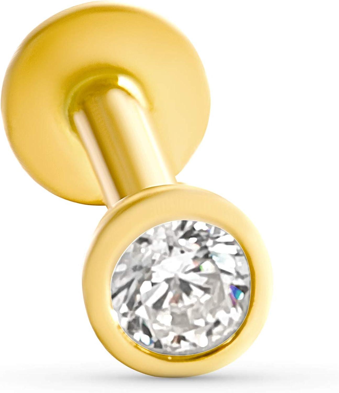 ONDAISY 14K Real Yellow Gold Cute Mini Small Minimalist Round Circle Symbol Ball Ear Stud Earring Piercing Internally Threaded Labret For Women Girls Men
