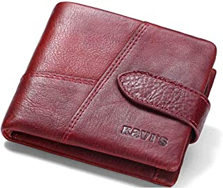 Mens Leather Bag Leather Men's Short Wallet Stitching Leather Casual Coin Bag Multi-Card Wallet New Bag (Color : Red)