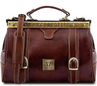 Tuscany Leather Monalisa Borsa medico in pelle con fibbie frontali Marrone