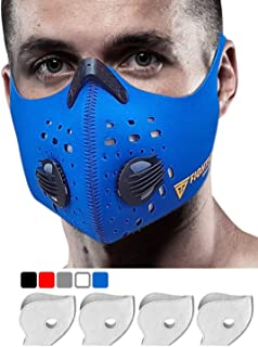 FIGHTECH Dust Mask   Mouth Mask Respirator with 4 Carbon Filters for Pollution Pollen Allergy Woodworking Mowing Running   Washable and Reusable Neoprene Half Face Mask (L/BLU)