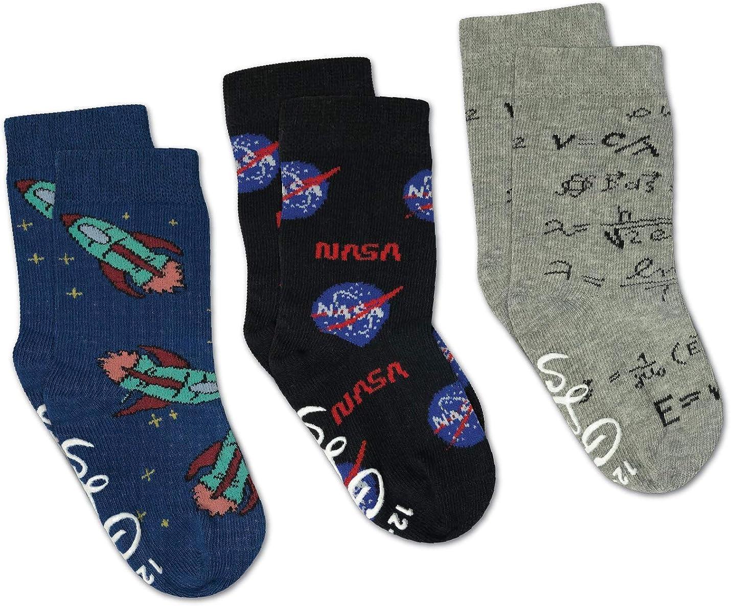 Math, NASA and Rockets Kids Toddler Socks, 3-Pack
