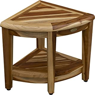 EcoDecors Oasis Teak Corner Shower Bench with Shelf, Natural