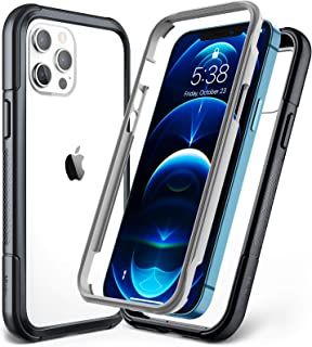 Mkeke Compatible with iPhone 12 Case, Compatible with iPhone 12 Pro Case 6.1 Inch Dual Layer with Shockproof Bumper, Grey ...