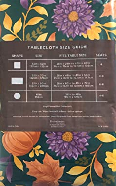 Fall Harvest Vinyl Tablecloth Flannel Backed Autumn Foliage Mums and Pumpkins on Dark Green Background Indoor Outdoor (52 x 7