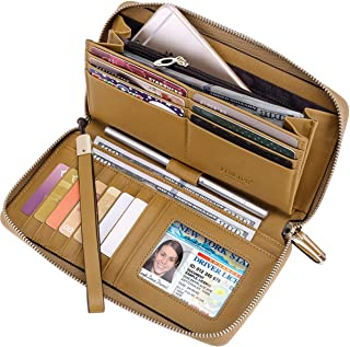 Women RFID Leather Wristlet Wallets Zip Around Phone Checkbook Card Big Clutch Large Ladies Travel Purse (Stripe Light Brown)