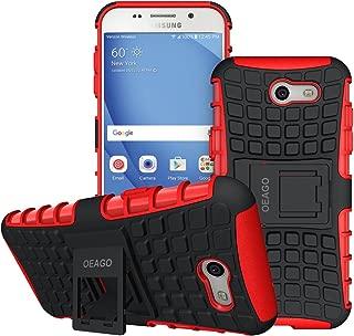 OEAGO Galaxy J3 Emerge / J3 Prime / J3 Eclipse / J3 2017 / J3 Luna Pro / J3 Mission/Sol 2 / Amp Prime 2 / Express Prime 2 Case, Tough Rugged Dual Layer Case with Kickstand (Red)