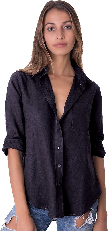 CAMIXA Womens Classic Linen Shirt Loose Button Down Blouse Sleeve 100% Linen Top