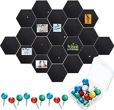 20 Packs Pin Board Hexagon Felt Board Tiles Black Bulletin Board Memo Board Notice Board with 40 Pieces Push Pins, Decorat...