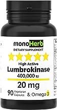 Lumbrokinase 20 mg per Capsule – 90 Vegetarian Capsules – High Active 400,000 IU
