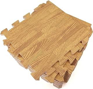 Tebery 16 Pieces Printed Wood Grain Floor Tiles 3/8-Inch Thick EVA Foam Puzzle Floor Mat