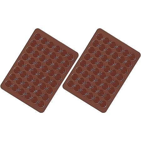Voarge Lot de 2 Tapis de Cuisson Macarons en Silicone 48 Cavités Antiadhésives Tapis de Cuisson Macarons en Silicone 38 x 28 cm