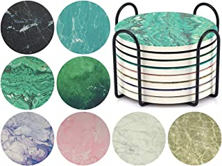 Coasters for Drinks with Holder - Tifanso 8 Pieces Marble Absorbent Ceramic Stone Drink Coasters with Cork Base, Use for Kitchen Decor Suitable for Cold Drinks Wine Glass Cup, Funny Housewarming Gift