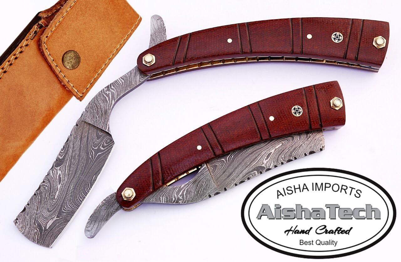 AishaTech 爆買いセール Professional 通販 Straight Razor Blade Sturd Damascus Steel