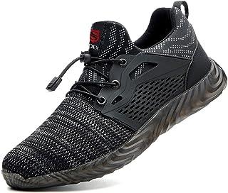 JACKSHIBO Steel Toe Indestructible Work Shoes for Men Women Lightweight Mesh Safety Industrial Construction Shoes