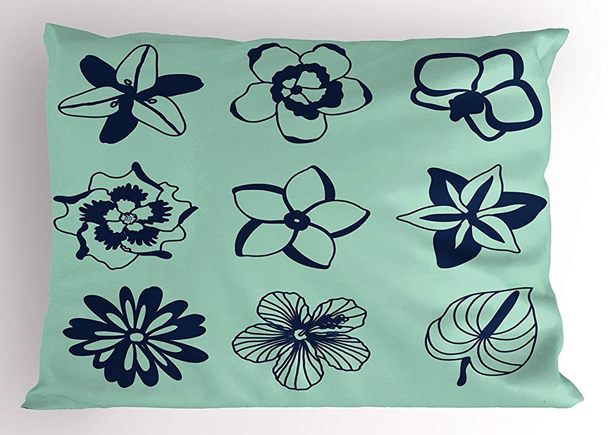 ジョイント日付付きロードされたTropical Pillow Sham, Hawaiian Flora with Tropical Silhouettes Collection Blooming Hibiscuses, Decorative Standard Queen Size Printed Pillowcase, 30 X 20 inches, Pale Green Navy Blue