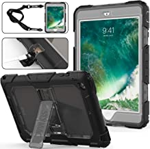 SEYMAC stock iPad Mini Case, 3 Layers Shockproof Full-Body Rugged Hard PC & Soft Silicone Case with [Portable Shoulder Strap] & [Built-in Kickstand] for iPad Mini 1/2/3 (Gray/Black)