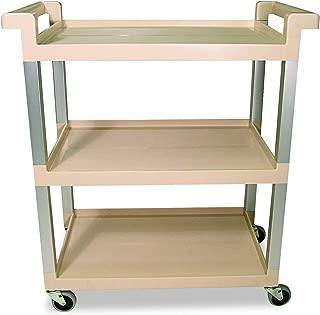 Rubbermaid Commercial 9T6571BG Three-Shelf Service Cart w/Brushed Aluminum Upright, 16-1/4 x 31-1/2 x 36, Beige, 100 lbs. Capacity