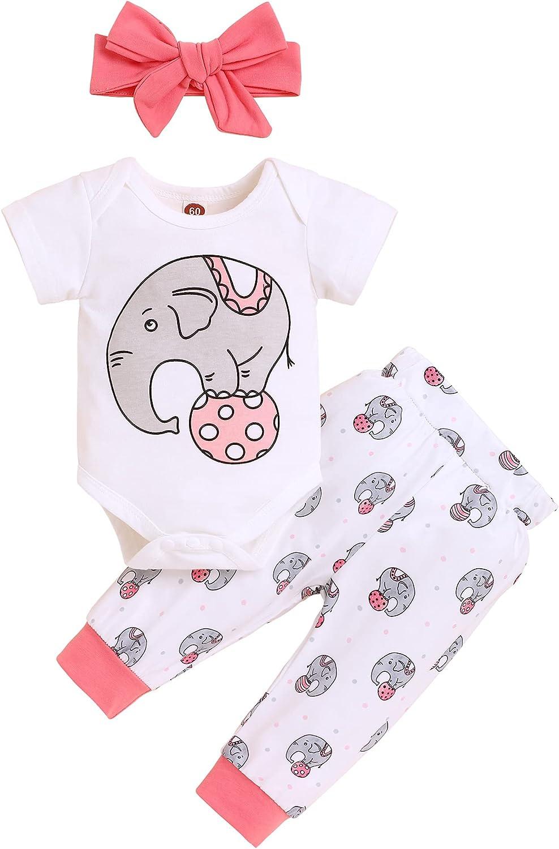Newborn Infant Baby Girl Boy Clothes Short Sleeve Elephant Romper + Pants + Headband Hat 3Pcs Outfits Set