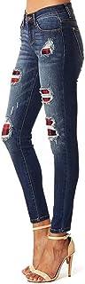 Pantalones vaqueros elásticos para mujer con agujeros rasgados a cuadros, pantalones vaqueros ajustados a cuadros rasgados...