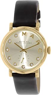 Marc By Marc Jacobs Baker Women'S Gold Dial Leather Band Watch - Mbm1399, Gold,