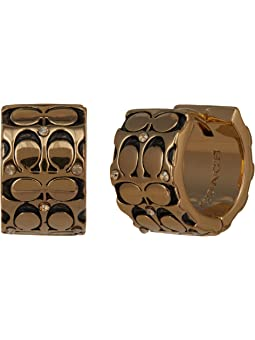 코치 귀걸이 COACH Quilted C Huggie Earrings,Golden