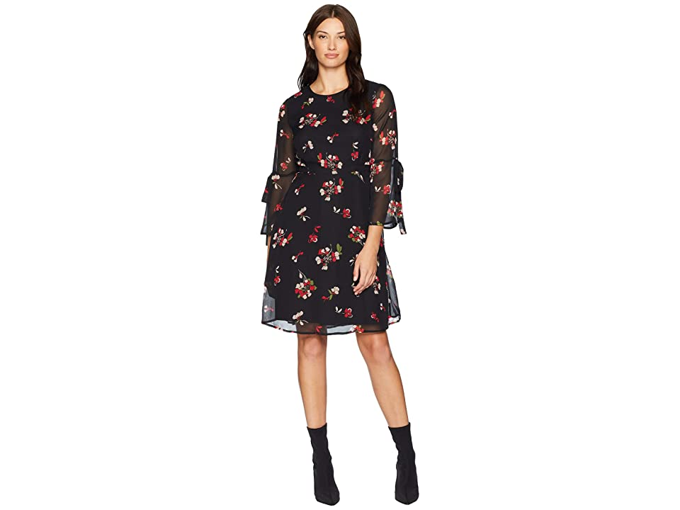 Nine West Chiffon A-Line Tie Back Waist Dress w/ Bell Sleeve Detail (Black/Crimson Multi) Women