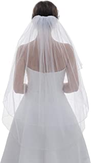 2T 2 Tier Pencil Edge Circular Center Gathered Veil Fingertip Length 36