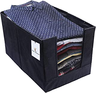 Kuber Industries Non Woven Shirt Stacker Wardrobe Organizer Set, Black-CTLTC31830