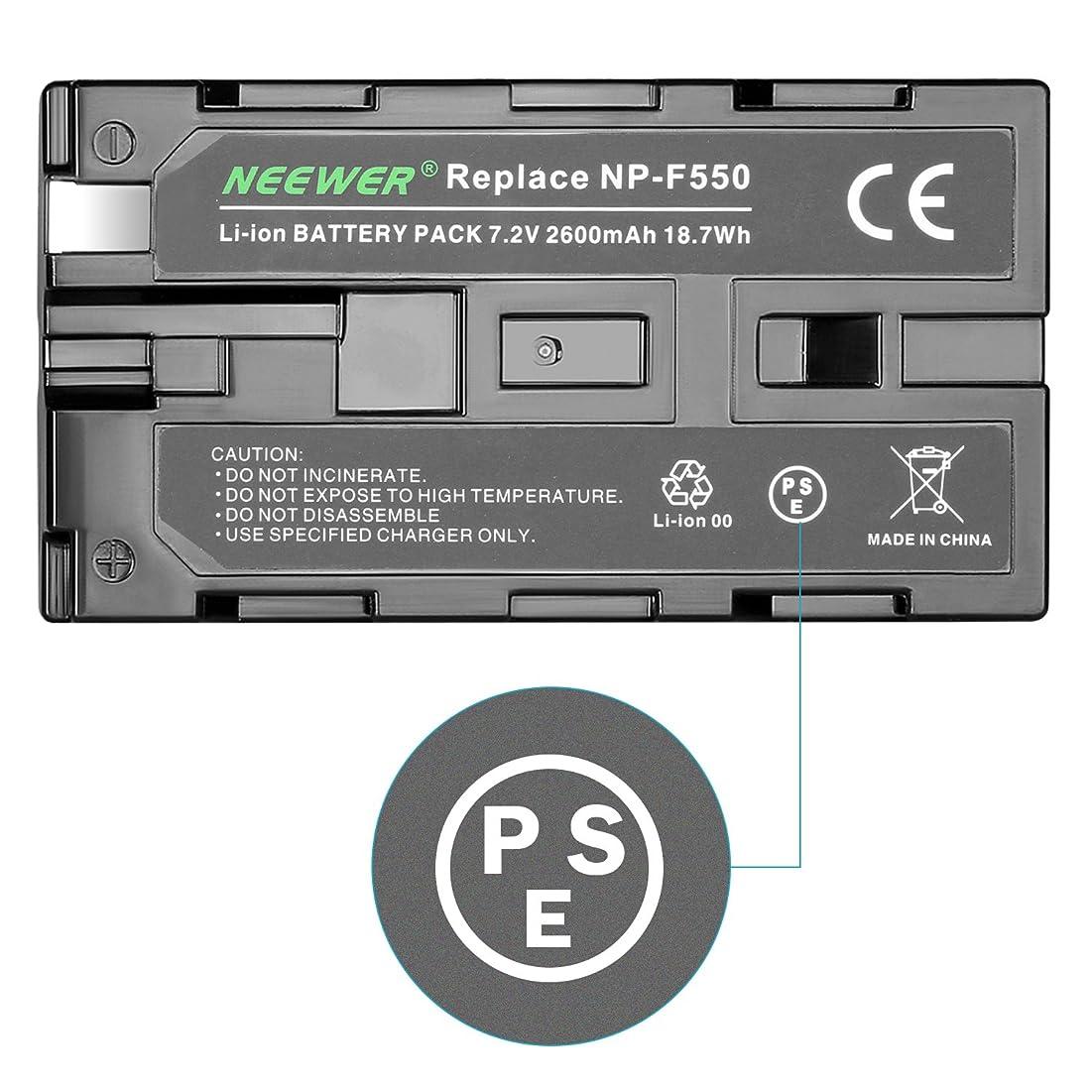 シンボルの間で憤るNeewer 2600mAh充電式Li-ionバッテリー Sony NP-F550/570/530用