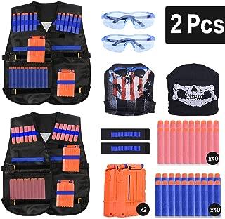 EXTSUD Kids Tactical Vest, 2 Sets Nerf Tactical Vest for Guns N-Strike Elite Series with 80Pcs Refill Darts, 2 Reload Clips, 2 Tactical Masks, 2 Wrist Bands and 2 Protective Glasses