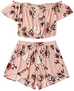 Hatoppy Women Off Shoulder Sunflower Print Crop Tops +Tassel Shorts Two-Piece Outfit