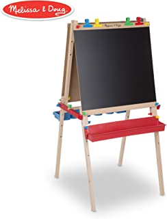 Melissa & Doug Deluxe Standing Art Easel - Dry-Erase Board, Chalkboard, Paper Roller