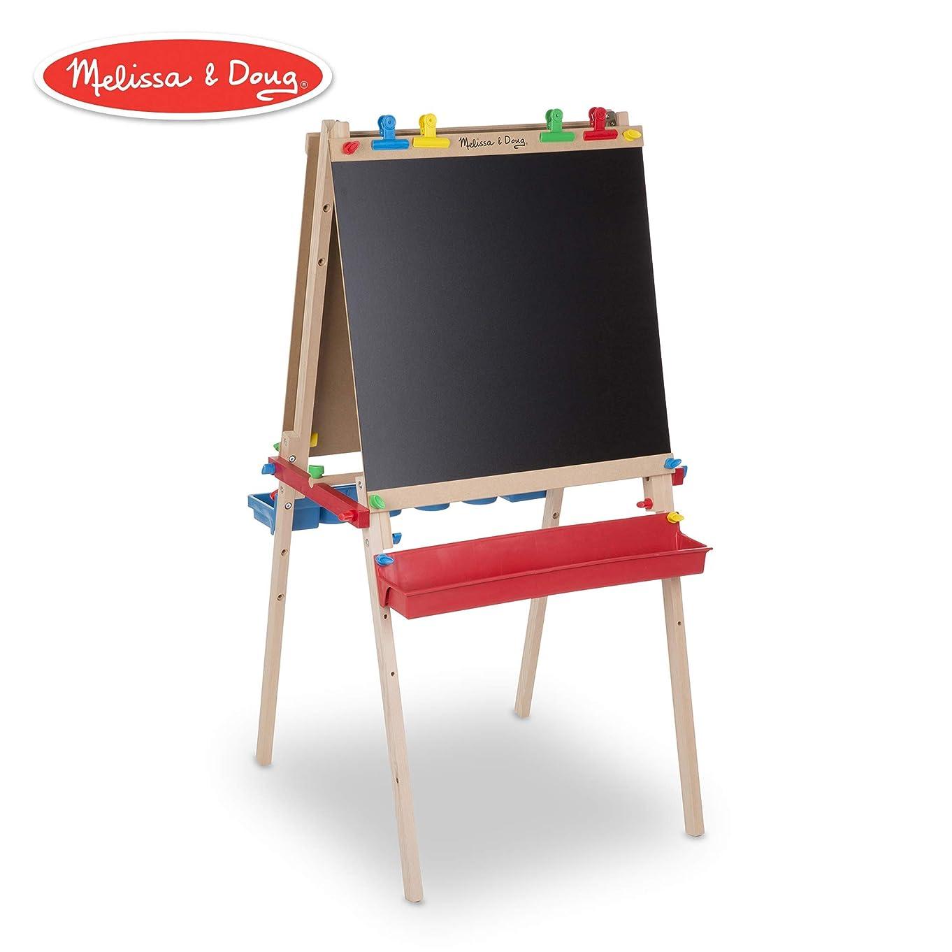 Melissa & Doug Deluxe Wooden Standing Art Easel, Arts & Crafts, Multiple-Use Easel, Chalkboard, Dry-Erase Board, Paper-Roll Holder, 47″ H × 27″ W × 26″ L Assembled