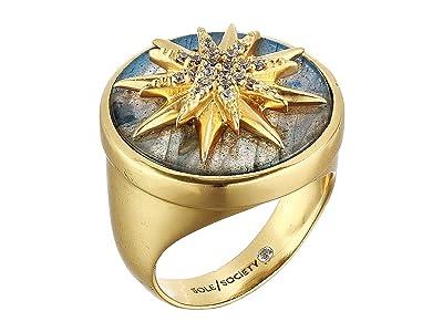SOLE / SOCIETY Intergalactic Star Ring (12K Soft Polish Gold/Crystal/Labradorite) Ring