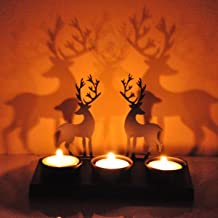 Hashcart Table Decorative Tealight Candle Holders, Deer Shadow Tea Light for Xmas Decor & Gift