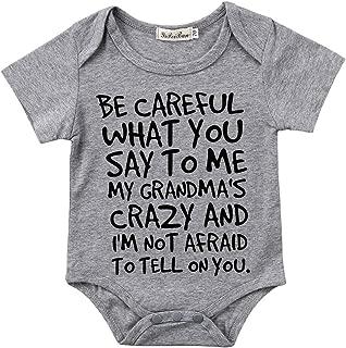 Baby Boy Girl be Careful What You say to me My Grandmas Crazy Bodysuit Funny Onesie