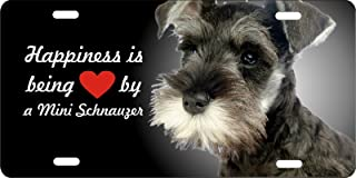 ATD Design LLC Novelty License Plate Happiness is Being Loved By a Miniature Schnauzer