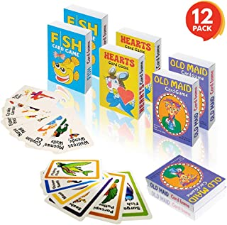 Gamie Classic Playing Card Game Set for Kids - 12 Decks - Includes Hearts, Go Fish, and Old Maid - Fun Educational Tool - Party Favor for Boys and Girls, Goody Bag Filler, Stocking Stuffer