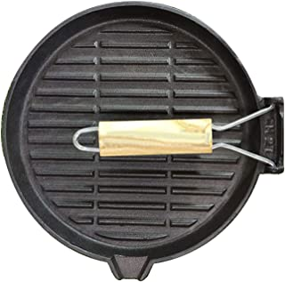 Pizza Pan Plate,Cast Iron Grill/Griddle With Handles, Skillet Pan For Stovetop, Oven Use & Outdoor Camping