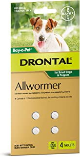 Drontal Allwormer Tablets for Dogs up to 3kg, 4 Pack