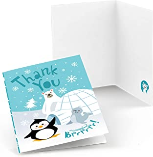 Big Dot of Happiness Arctic Polar Animals - Winter Baby Shower or Birthday Party Thank You Cards (8 Count)