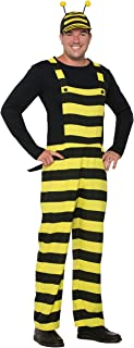 Forum Men's Worker Bee Stripped Overalls and Hat Costume