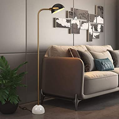 Floor Lamp LED Floor Lamp with Black Metal Lamp Shade and White Marble Base for Bedroom & Living Room, Modern Standing In