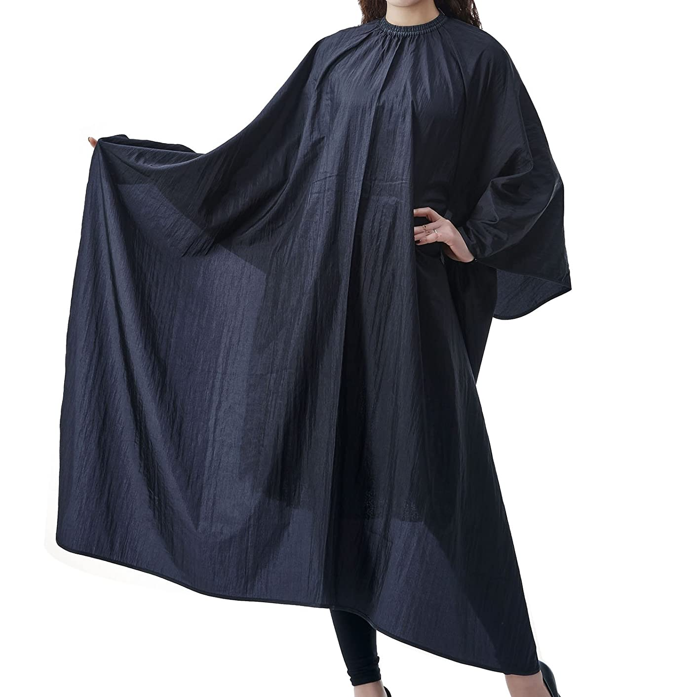 Salon Professional Hair Styling Cape, Colorfulife? Adult Hair Cutting Coloring Styling Waterproof Cape Meryl Spin Knit Hairdresser Wai Cloth Barber Gown Home Camps & Hairdressing Wrap Pure Color Contracted Pattern Capes K004 (Black)