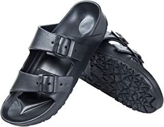 Men's EVA Slides Sandals Adjustable Double Buckle Flat Sandals for Men Slide On Summer Shoes, Lightweight Waterproof Beach Slide Slippers Non-Slip