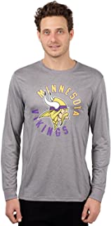 Ultra Game NFL Minnesota Vikings Men's Athletic Quick Dry Long Sleeve Tee Shirt, Large, Gray