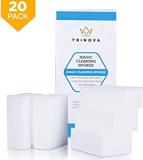 (20 Pack) Magic Cleaning Eraser Sponge - Best for Hard Surfaces in Kitchen, Bathroom, Home, Walls and More. Extreme Value, Clean with Non-Toxic Melamine. TriNova