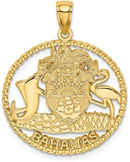 14k Yellow Gold Bahamas Crest In Textured Frame Pendant Charm Necklace Travel Transportation Fine Jewelry Gifts For Women For Her